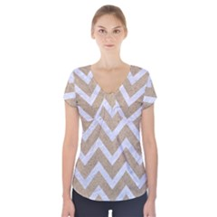 Chevron9 White Marble & Sand Short Sleeve Front Detail Top