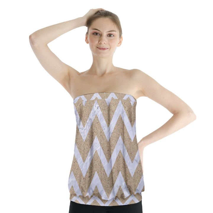 CHEVRON9 WHITE MARBLE & SAND Strapless Top