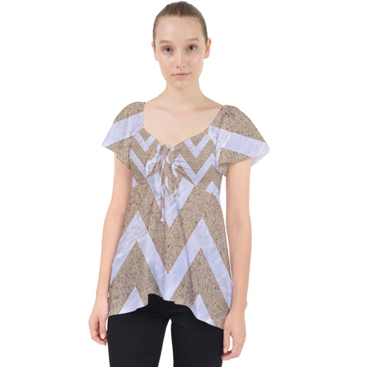 CHEVRON9 WHITE MARBLE & SAND Lace Front Dolly Top
