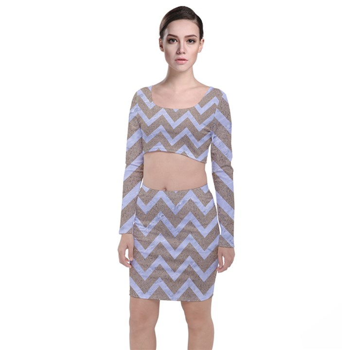 CHEVRON9 WHITE MARBLE & SAND Long Sleeve Crop Top & Bodycon Skirt Set