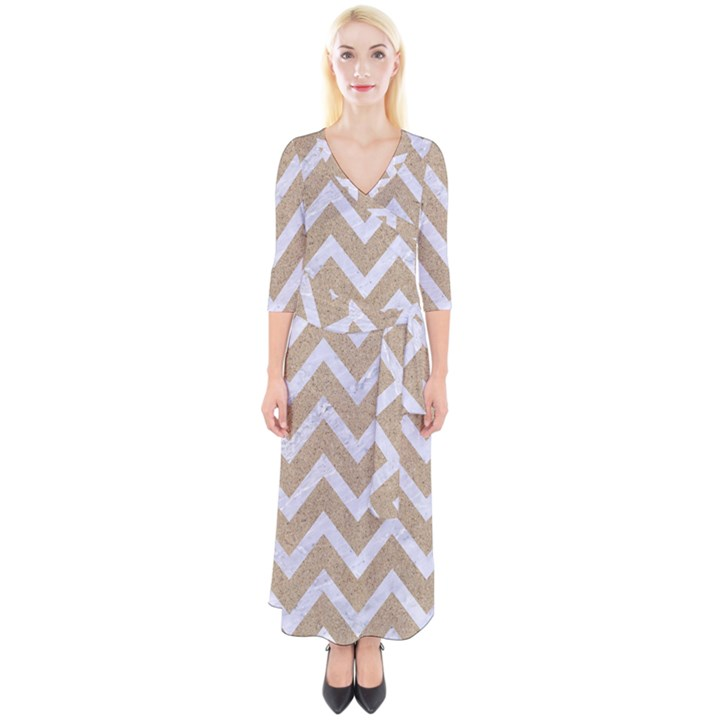CHEVRON9 WHITE MARBLE & SAND Quarter Sleeve Wrap Maxi Dress