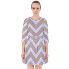 Chevron9 White Marble & Sand Smock Dress