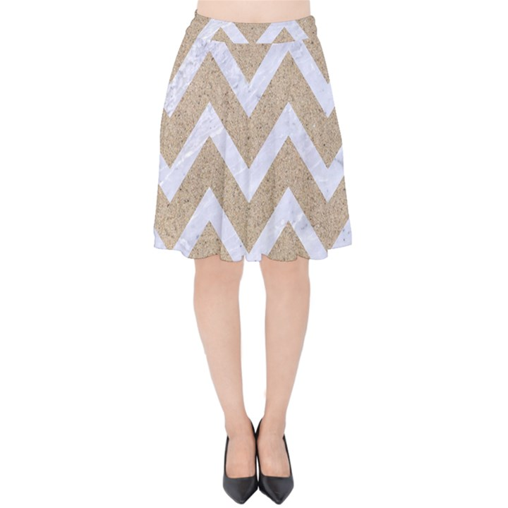 CHEVRON9 WHITE MARBLE & SAND Velvet High Waist Skirt