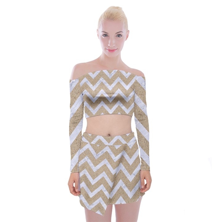 CHEVRON9 WHITE MARBLE & SAND Off Shoulder Top with Mini Skirt Set
