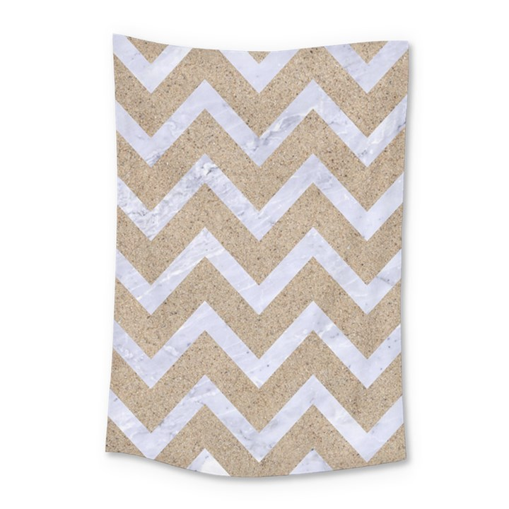 CHEVRON9 WHITE MARBLE & SAND Small Tapestry