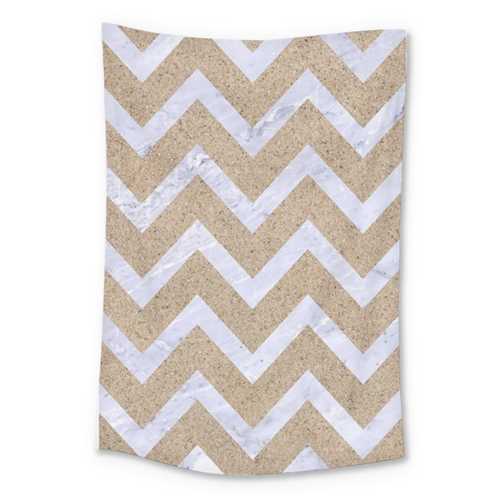 CHEVRON9 WHITE MARBLE & SAND Large Tapestry