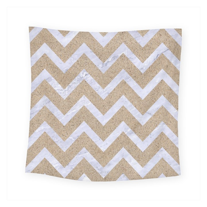 CHEVRON9 WHITE MARBLE & SAND Square Tapestry (Small)