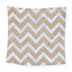 Chevron9 White Marble & Sand Square Tapestry (large)