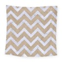 CHEVRON9 WHITE MARBLE & SAND Square Tapestry (Large) View1