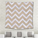 CHEVRON9 WHITE MARBLE & SAND Square Tapestry (Large) View2