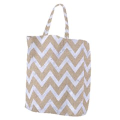 Chevron9 White Marble & Sand Giant Grocery Zipper Tote