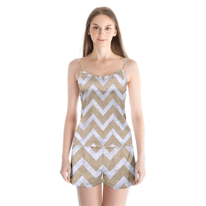 CHEVRON9 WHITE MARBLE & SAND Satin Pajamas Set