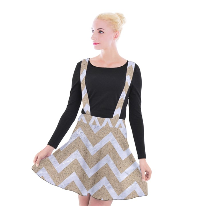 CHEVRON9 WHITE MARBLE & SAND Suspender Skater Skirt