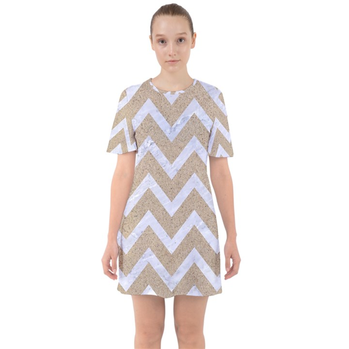 CHEVRON9 WHITE MARBLE & SAND Sixties Short Sleeve Mini Dress
