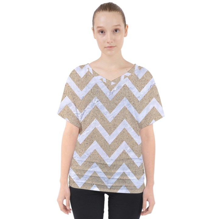 CHEVRON9 WHITE MARBLE & SAND V-Neck Dolman Drape Top