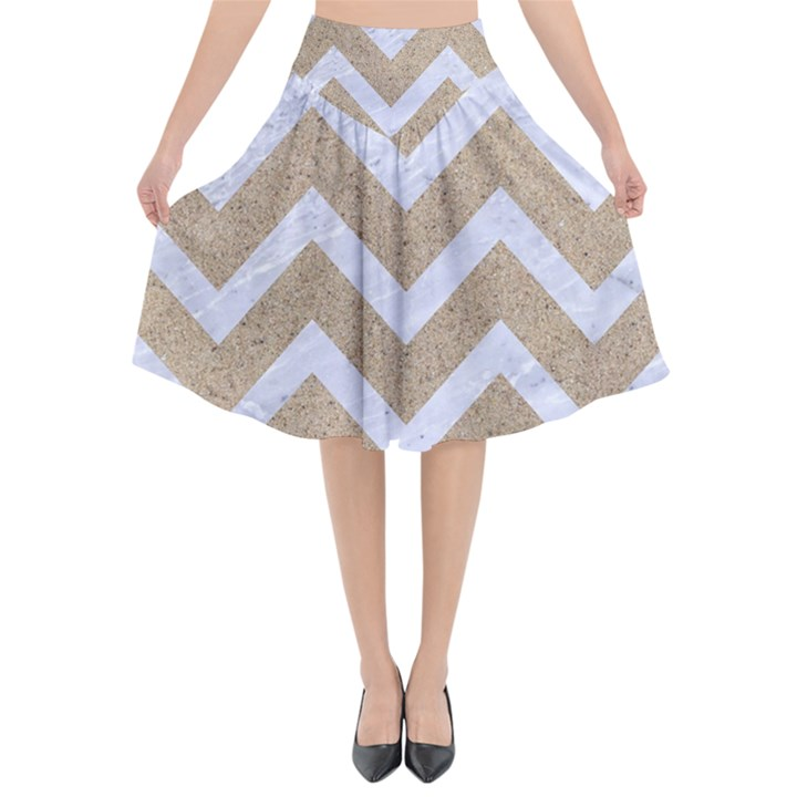 CHEVRON9 WHITE MARBLE & SAND Flared Midi Skirt
