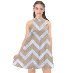 Chevron9 White Marble & Sand Halter Neckline Chiffon Dress