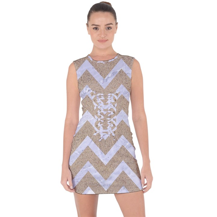CHEVRON9 WHITE MARBLE & SAND Lace Up Front Bodycon Dress