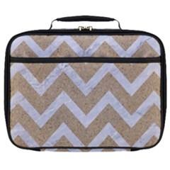 Chevron9 White Marble & Sand Full Print Lunch Bag