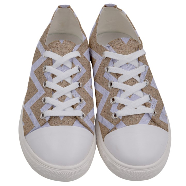 CHEVRON9 WHITE MARBLE & SAND Women s Low Top Canvas Sneakers
