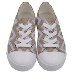 Chevron9 White Marble & Sand Kids  Low Top Canvas Sneakers