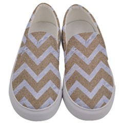 Chevron9 White Marble & Sand Men s Canvas Slip Ons