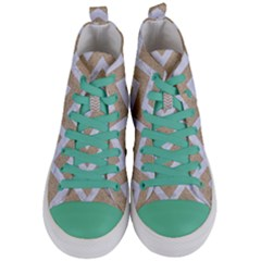 Chevron9 White Marble & Sand Women s Mid Top Canvas Sneakers