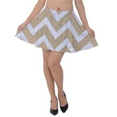 Chevron9 White Marble & Sand Velvet Skater Skirt
