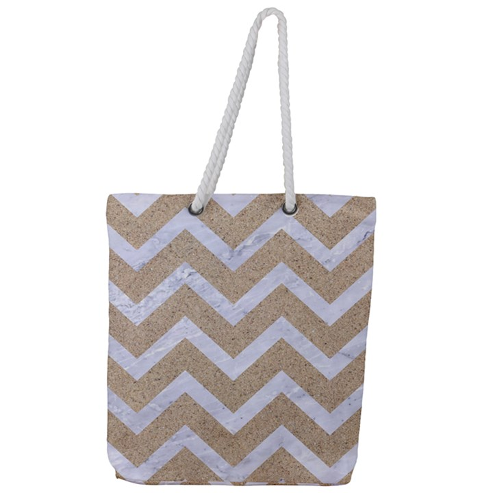 CHEVRON9 WHITE MARBLE & SAND Full Print Rope Handle Tote (Large)