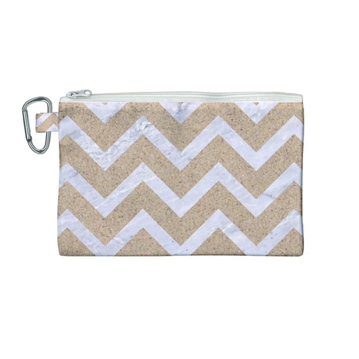 CHEVRON9 WHITE MARBLE & SAND Canvas Cosmetic Bag (Medium)