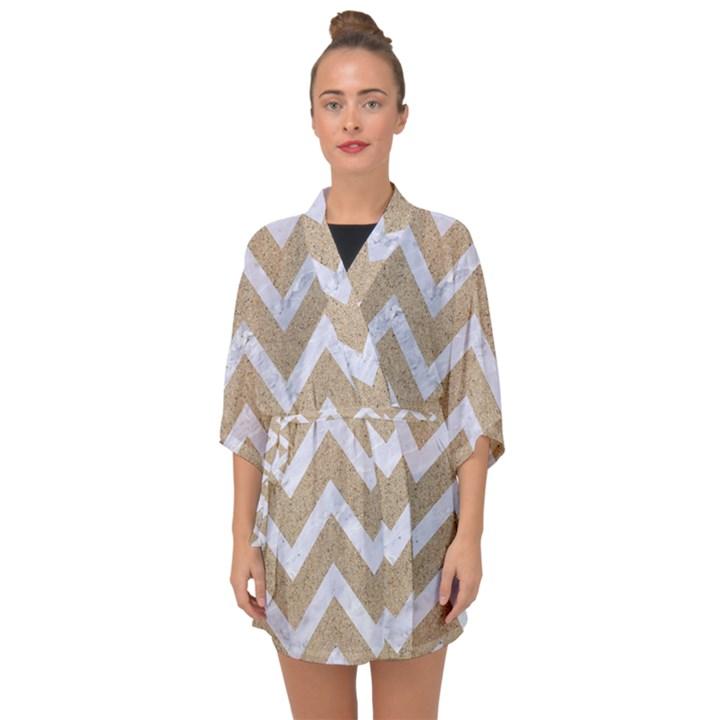 CHEVRON9 WHITE MARBLE & SAND Half Sleeve Chiffon Kimono