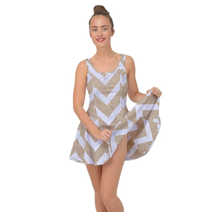 CHEVRON9 WHITE MARBLE & SAND Inside Out Dress