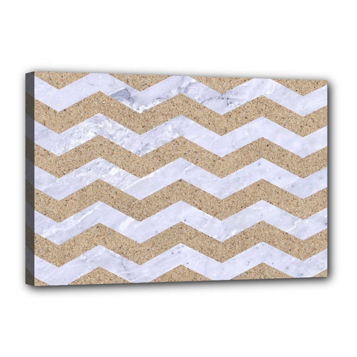 CHEVRON3 WHITE MARBLE & SAND Canvas 18  x 12