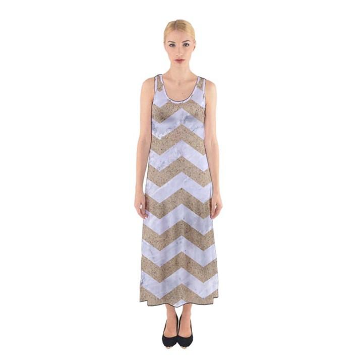 CHEVRON3 WHITE MARBLE & SAND Sleeveless Maxi Dress