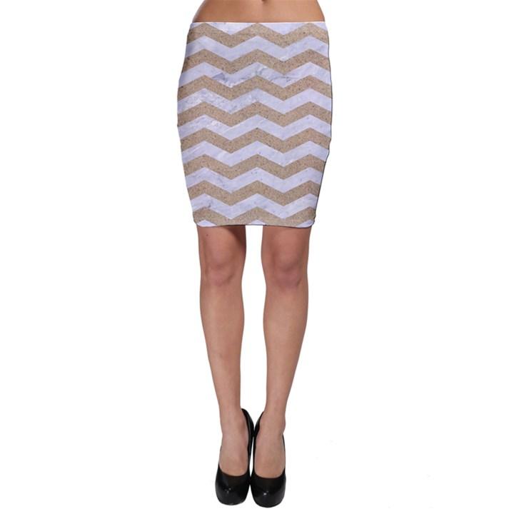 CHEVRON3 WHITE MARBLE & SAND Bodycon Skirt