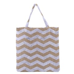 Chevron3 White Marble & Sand Grocery Tote Bag