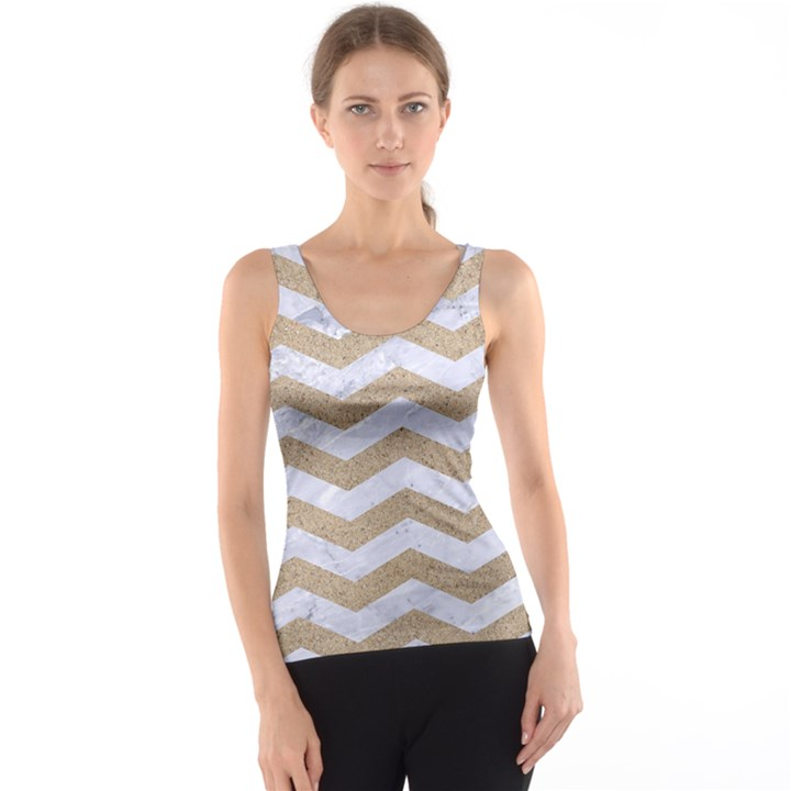 CHEVRON3 WHITE MARBLE & SAND Tank Top