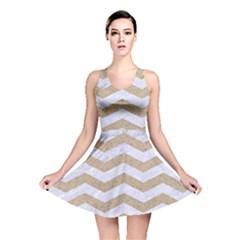Chevron3 White Marble & Sand Reversible Skater Dress
