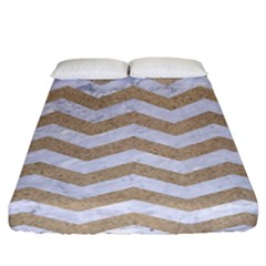 Chevron3 White Marble & Sand Fitted Sheet (california King Size)