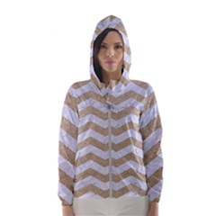 Chevron3 White Marble & Sand Hooded Wind Breaker (women)
