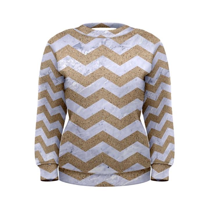 CHEVRON3 WHITE MARBLE & SAND Women s Sweatshirt