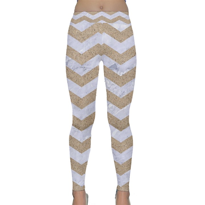 CHEVRON3 WHITE MARBLE & SAND Classic Yoga Leggings
