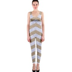 Chevron3 White Marble & Sand One Piece Catsuit