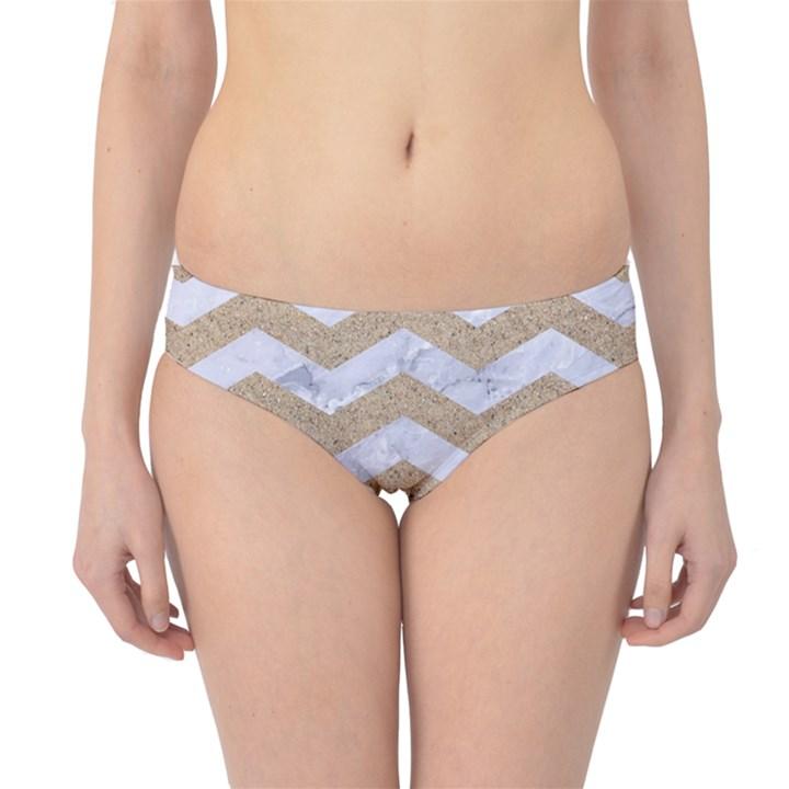 CHEVRON3 WHITE MARBLE & SAND Hipster Bikini Bottoms