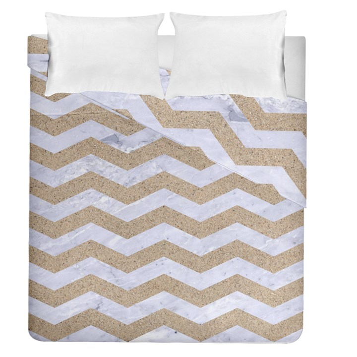 CHEVRON3 WHITE MARBLE & SAND Duvet Cover Double Side (Queen Size)