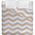 CHEVRON3 WHITE MARBLE & SAND Duvet Cover Double Side (King Size) View1