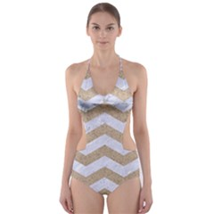 Chevron3 White Marble & Sand Cut Out One Piece Swimsuit