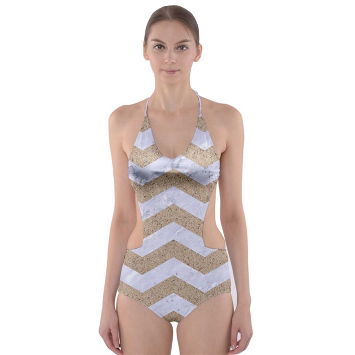 CHEVRON3 WHITE MARBLE & SAND Cut-Out One Piece Swimsuit