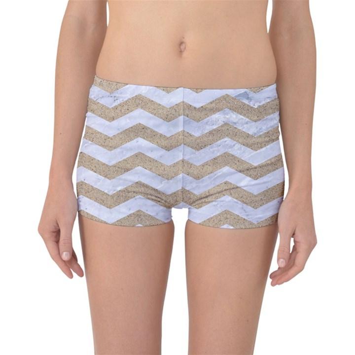 CHEVRON3 WHITE MARBLE & SAND Reversible Boyleg Bikini Bottoms
