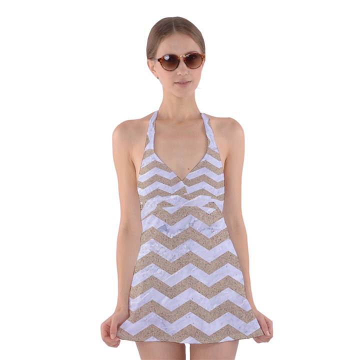 CHEVRON3 WHITE MARBLE & SAND Halter Dress Swimsuit